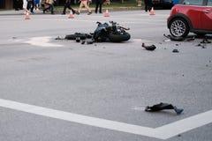 Wypadek motocykl i samochód przy rozdrożem, Vancouver zdjęcie stock
