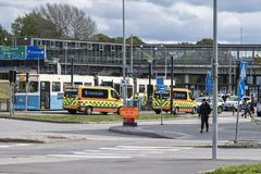 Wypadek na tramwaju w Mölndal, Szwecja obrazy stock