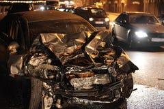 Wypadek przy nocą fotografia royalty free