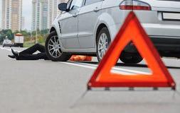 Wypadek. pukający puszka pieszy Obraz Stock