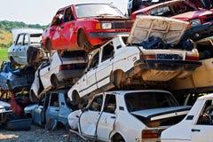 Wypadek samochodowy dokąd szkoda ogromna był fotografia stock