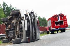 Wypadek samochodowy drogowy trzask obraz royalty free