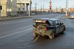 Wypadek samochodowy na drodze Obrazy Stock