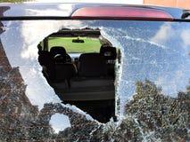 Wypadek samochodowy z łamaną przednią szybą w końcówce, Lithuania zdjęcie stock