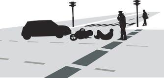 Wypadek uliczny sylwetki wektor Obraz Stock