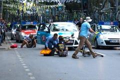 Wypadek w Prezydenckiej kolarstwo wycieczce turysycznej Turcja 2014 Zdjęcia Stock