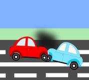 Wypadek, wypadku samochodowego dwa samochody na drodze Fotografia Stock