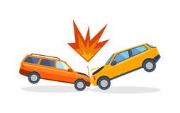 Wypadkowa droga na ulicie uszkadzał samochody po karambol kraksy samochodowej wektoru ilustracji