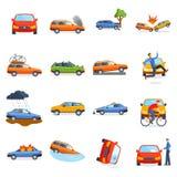 Wypadkowa droga na ulicie uszkadzał samochody po karambol kraksy samochodowej wektoru royalty ilustracja
