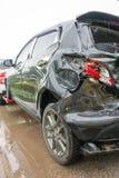Wypadkowa kraksa samochodowa, kraksa samochodowa Często łatwo zdarza się Jeżeli neglige Obraz Stock