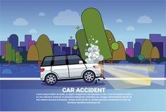 Wypadku Samochodowego pojęcie Łamający samochód Na drodze Przy nocą Nad miasta tłem Z kopii przestrzenią ilustracji