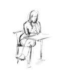 wypełniający dziewczyny nogi stół wypełniać Ilustracji