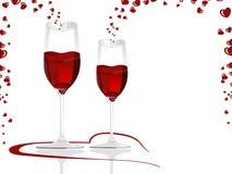 Wypełniający z miłością win kierowi kształtni szkła wine. Fotografia Royalty Free