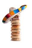 Wypiętrzający Bagels z Meksykańskim kapeluszem na wierzchołku Fotografia Royalty Free