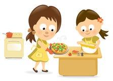 wypiekowa córki matki pizza royalty ilustracja