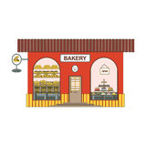 Wypiekowa sklepowa kreskówki ikona w mieszkanie stylu Piekarni gablota wystawowa na miasto ulicach Projektuje element dla past w  royalty ilustracja