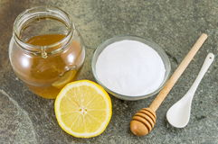 Wypiekowa soda, cytryna i miód, obrazy royalty free