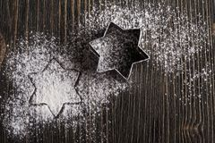 Wypiekowi naczynia, metalu xmas gwiazdy foremka Zdjęcie Royalty Free