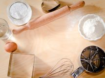 Wypiekowy składnika tło, wypiekowy pojęcie, kocham gotować, Ja kocham piekarników torty, menu, piekarnia, chleb, widok od wysokie Zdjęcie Royalty Free