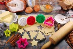 wypiekowych bożych narodzeń ciastek kierowa księżyc kształtów gwiazda Obraz Stock