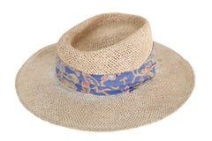 Wyplata brown kobieta kapelusz odizolowywającego na bielu Zdjęcia Royalty Free
