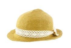 Wyplata kapelusz na whiite tle Zdjęcia Stock