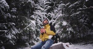 Wyposażający młody turystyczny mężczyzna pije niektóre gorącej herbaty od po środku zadziwiającego śnieżnego lasowego siedzącego  zbiory