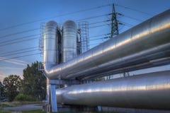 wyposażenia przemysłowa nowa przerób ropy naftowej strefa Zakończenie przemysłowi rurociąg rafinerii ropy naftowej roślina Zdjęcie Royalty Free