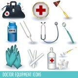 wyposażenie doktorskie ikony ilustracja wektor
