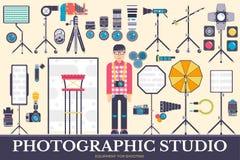 Wyposażenie fotograf ikony projektuje ilustracja set Płaskiej fotografii rzeczy pracowniany pojęcie Wektorowa kamera, obiektywy i Zdjęcia Royalty Free