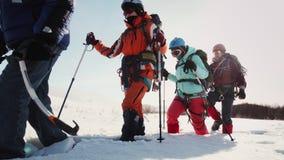 Wyprawa mężczyźni i kobiety iść jeden po drugim w wysokim śniegu dziewczyny ono pomaga z narciarskimi słupami W zdjęcie wideo