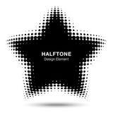 Wypukły czarny abstrakcjonistyczny wektor zniekształcający gwiazdy ramy halftone kropek loga emblemat dla nowa technologia wzoru  Zdjęcie Stock