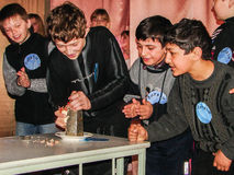 Wypytuje pierścionek w wiejskiej szkole w Kaluga regionie w Rosja Obraz Royalty Free