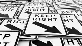 Wyrównujący stos utrzymanie prawicy ruchu drogowego znaki ilustracja wektor