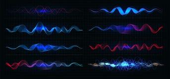 Wyrównywacza wektoru ilustracja Pulsacja koloru falisty ruch wykłada na czarnym tle Częstotliwość radiowa wykres grafika ilustracji