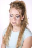 wyrażeniowa dziewczyna robi smutny up obraz stock