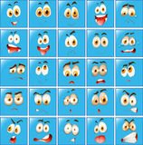 Wyraz twarzy na błękitnym guziku ilustracja wektor