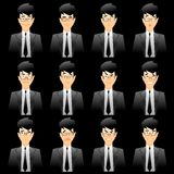 wyrazy twarzy urzędowania człowieku Obrazy Stock