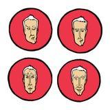 Wyrazy twarzy w mężczyzna ` s stawiają czoło, emocj ikony ustawiać Fotografia Stock