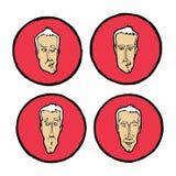 Wyrazy twarzy w mężczyzna ` s stawiają czoło, emocj ikony ustawiać Zdjęcie Stock