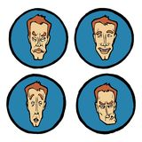 Wyrazy twarzy w mężczyzna ` s stawiają czoło, emocj ikony ustawiać Obrazy Stock