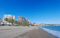 wyrzucać na brzeg miasto Malaga zdjęcie royalty free