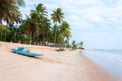Wyrzucać na brzeg przy niskim przypływem z łodzią, Pititinga, Natal (Brazylia) fotografia royalty free