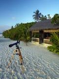 Wyrzucać na brzeg w tropikalnym raju Maldives Zdjęcie Stock