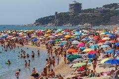 Wyrzucać na brzeg na Costa Brava wiosce Sant Antoni de Calonge Hiszpania, 27 07 2017 Hiszpania Obraz Royalty Free