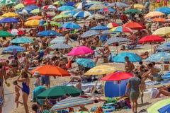 Wyrzucać na brzeg na Costa Brava wiosce Sant Antoni de Calonge Hiszpania, 27 07 2017 Hiszpania Fotografia Royalty Free
