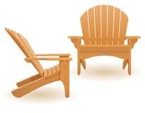 Wyrzuca? na brzeg kar?a lounger deckchair robi? drewniana wektorowa ilustracja lub uprawia ogr?dek ilustracja wektor
