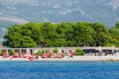 Wyrzucać na brzeg na wyspie Sveti Nikola, Budva, Montenegro Obraz Royalty Free
