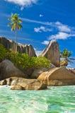 wyrzucać na brzeg Seychelles Zdjęcie Royalty Free