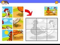 Wyrzynarek łamigłówki z dwa kurczaka gospodarstwa rolnego ptakami Obraz Royalty Free